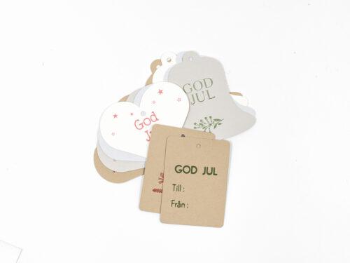 Julklappsetiketter - MIxpack med 10 stycken juletiketter