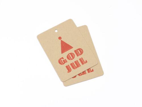 Julklappsetikett GOD JUL, naturfärgat papper