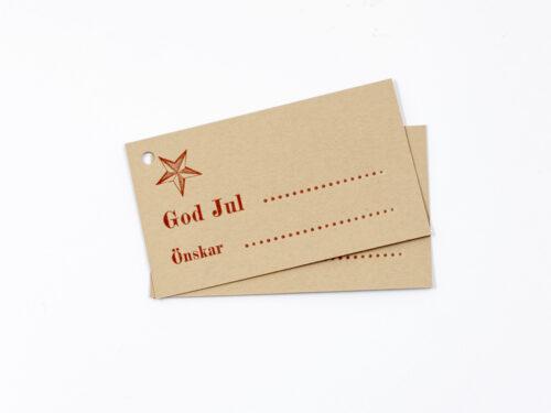 Julklappsetikett GOD JUL med stjärna, naturfärgat papper