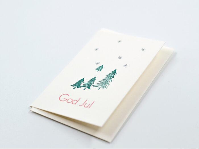 Julkort, dubbla kort GRANAR 2-pack. Tillverkade med sk boktryck, letterpress printning