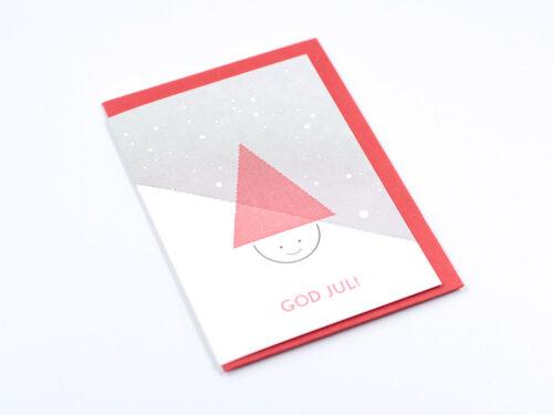 Julkort, dubbla kort TOMTE 2-pack. Tillverkade med sk boktryck, letterpress printning