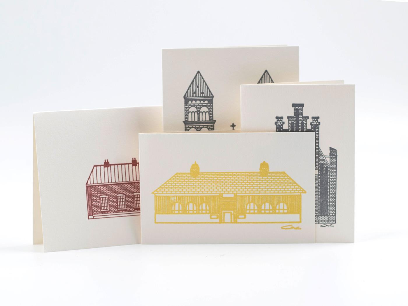 Dubbla handgjorda kort - LUNDAHUS - 4-pack