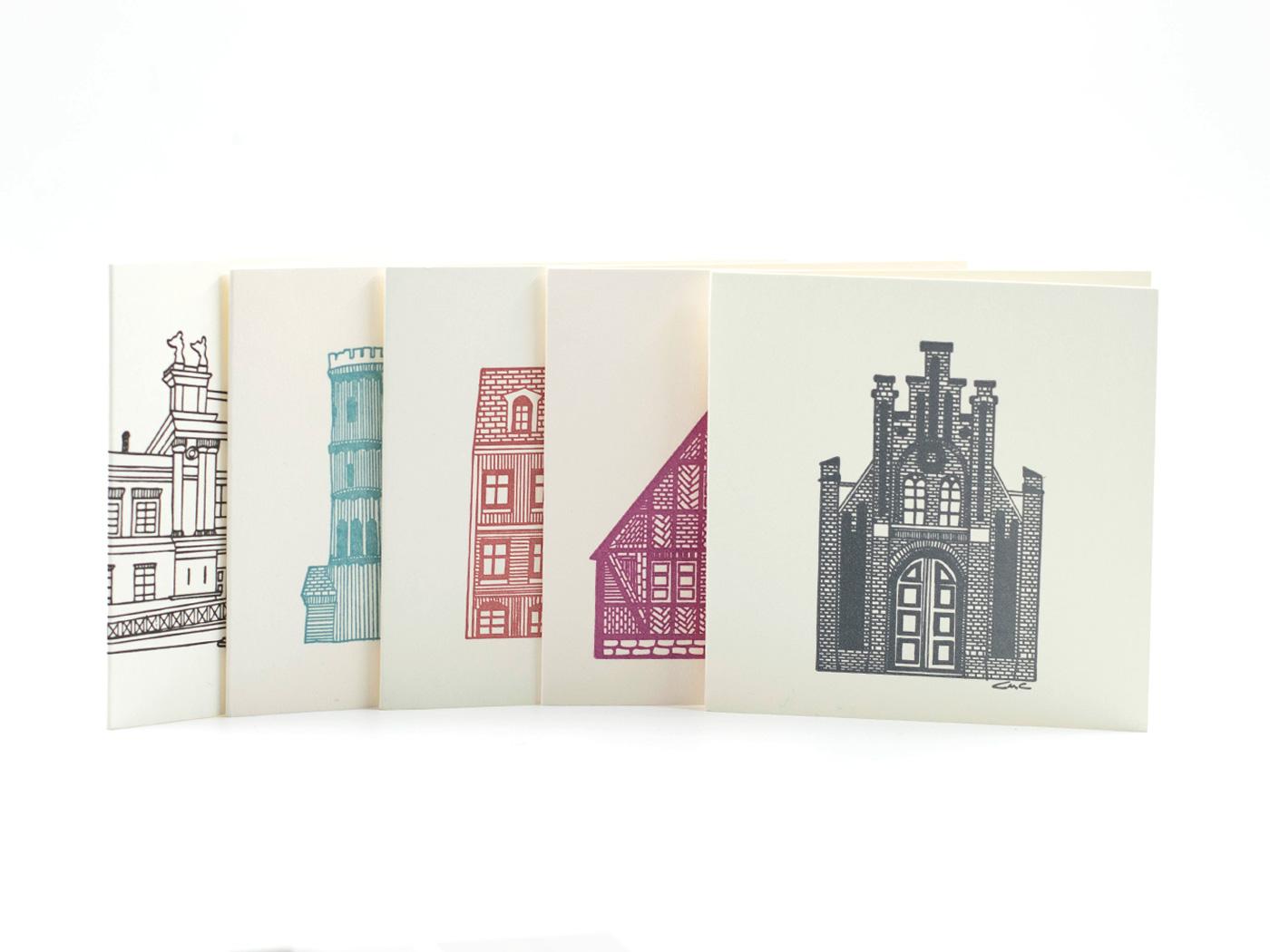 Dubbla handgjorda kort - LUNDAHUS - 5-pack