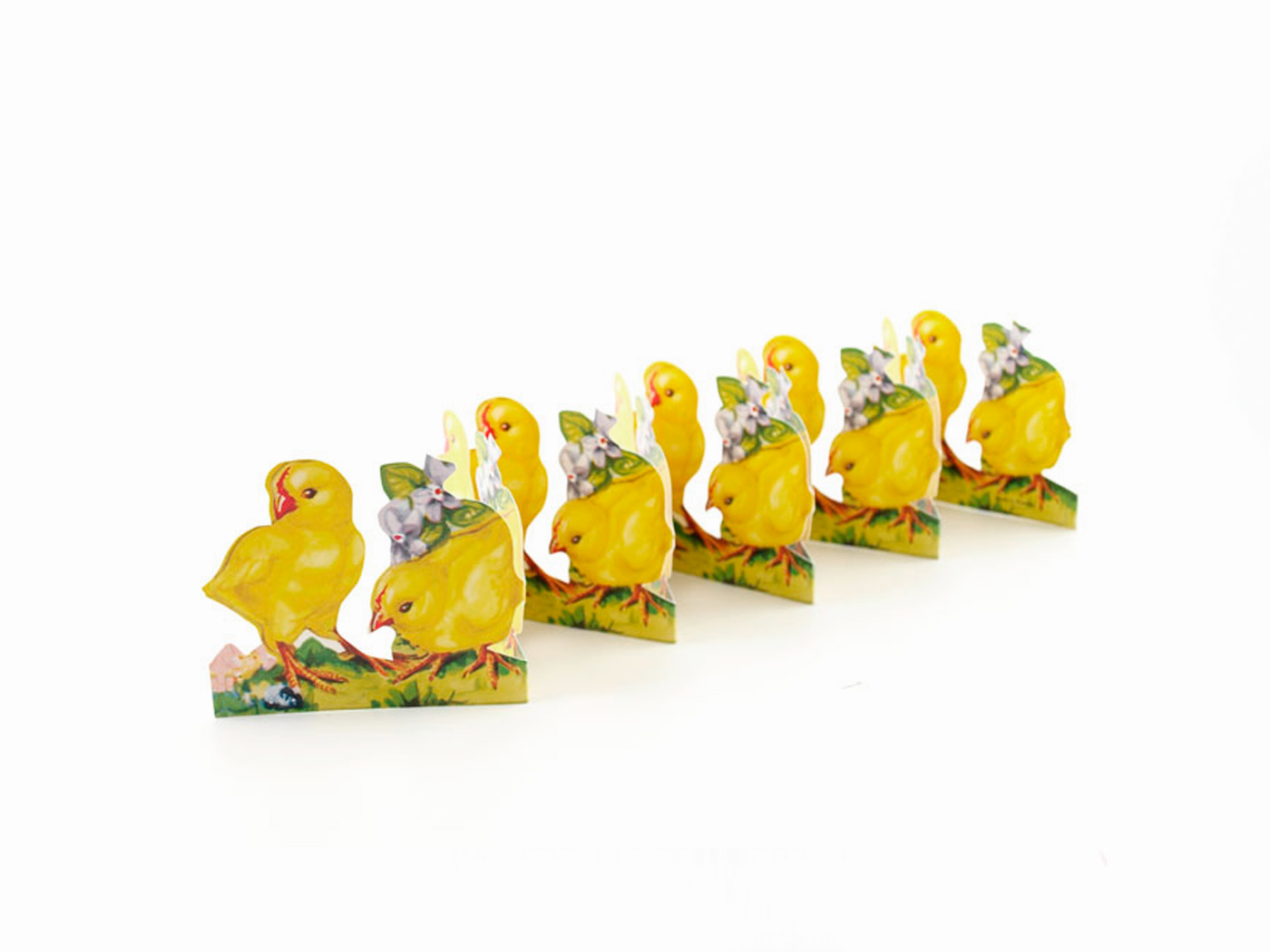 Pappersrad - Gula kycklingar i rad